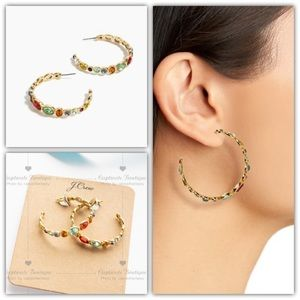 J.CREW Colorful Stone Hoop Earrings Multi Color